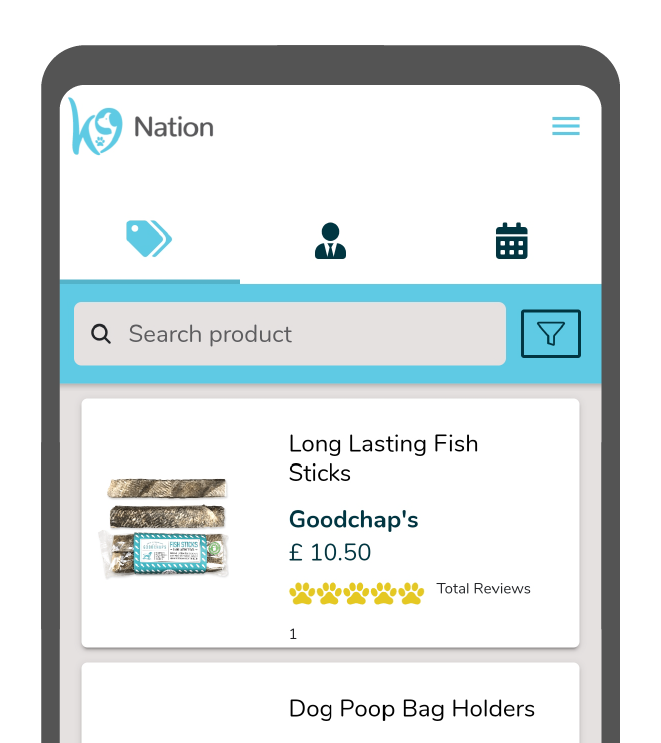 A smart phone screen shows the marketplace page for the K9 Nation app, featuring the first three products in the list. The phone is cut so that only the top half is showing.